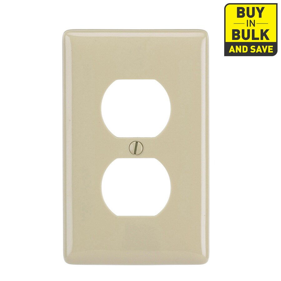 Hubbell 10-Pack 1-Gang Ivory Single Duplex Wall Plates