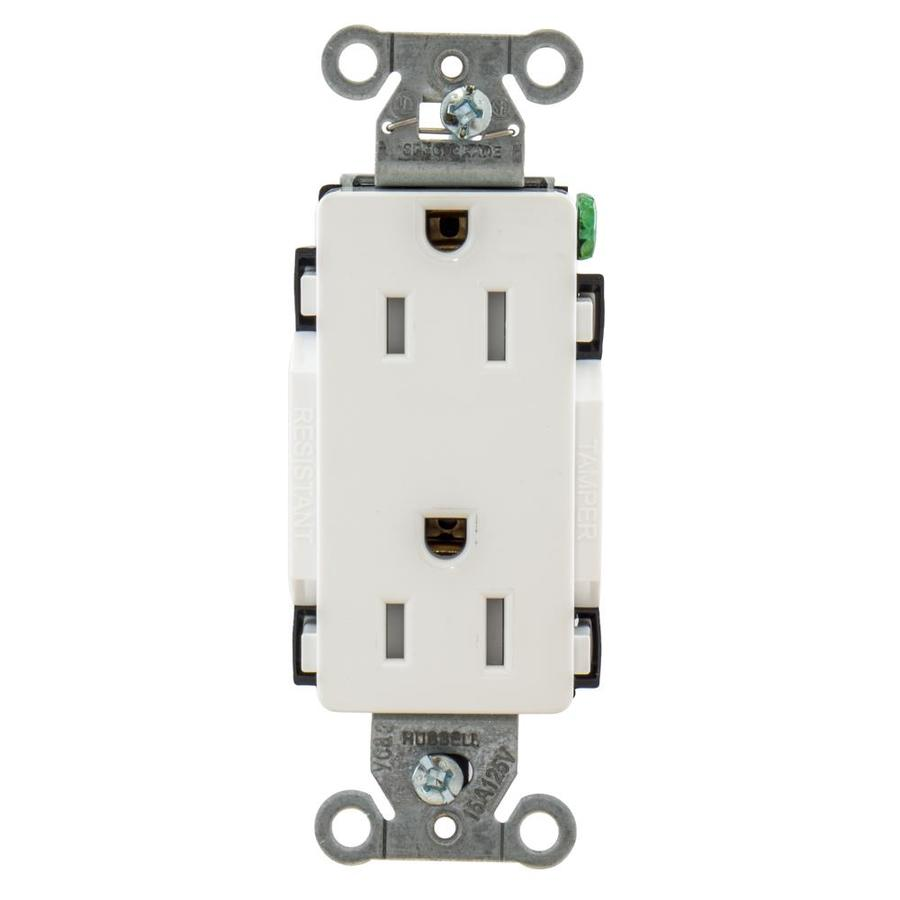 Hubbell 15-Amp 125-volt White Indoor Decorator Wall Tamper Resistant Outlet