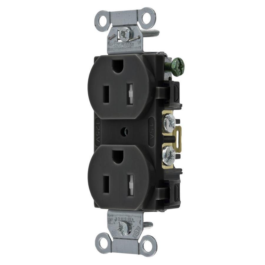 Hubbell 15-Amp 125-volt Black Indoor Duplex Wall Tamper Resistant Outlet