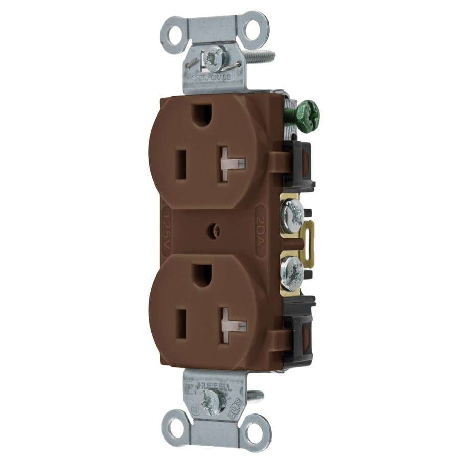 Hubbell 20 125-Volt Brown Indoor Duplex Wall Tamper Resistant Outlet