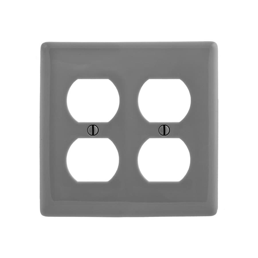 Hubbell 2-Gang Gray Double Duplex Wall Plate