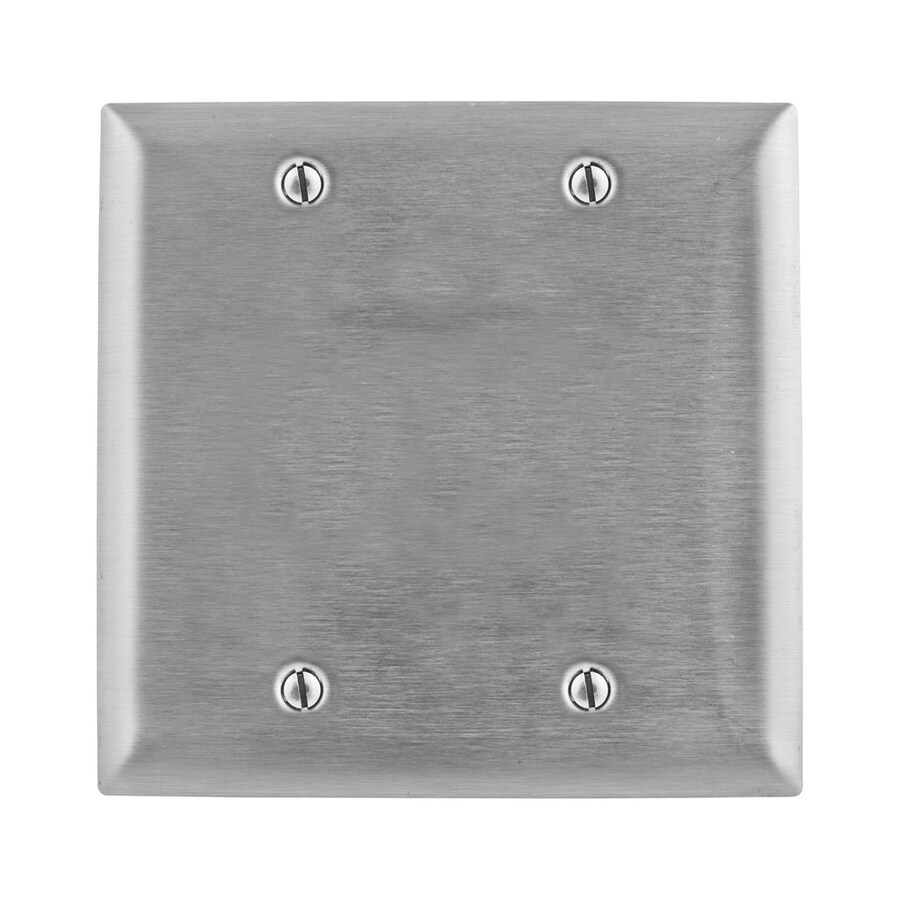 Hubbell 2-Gang Stainless Steel Double Blank Wall Plate