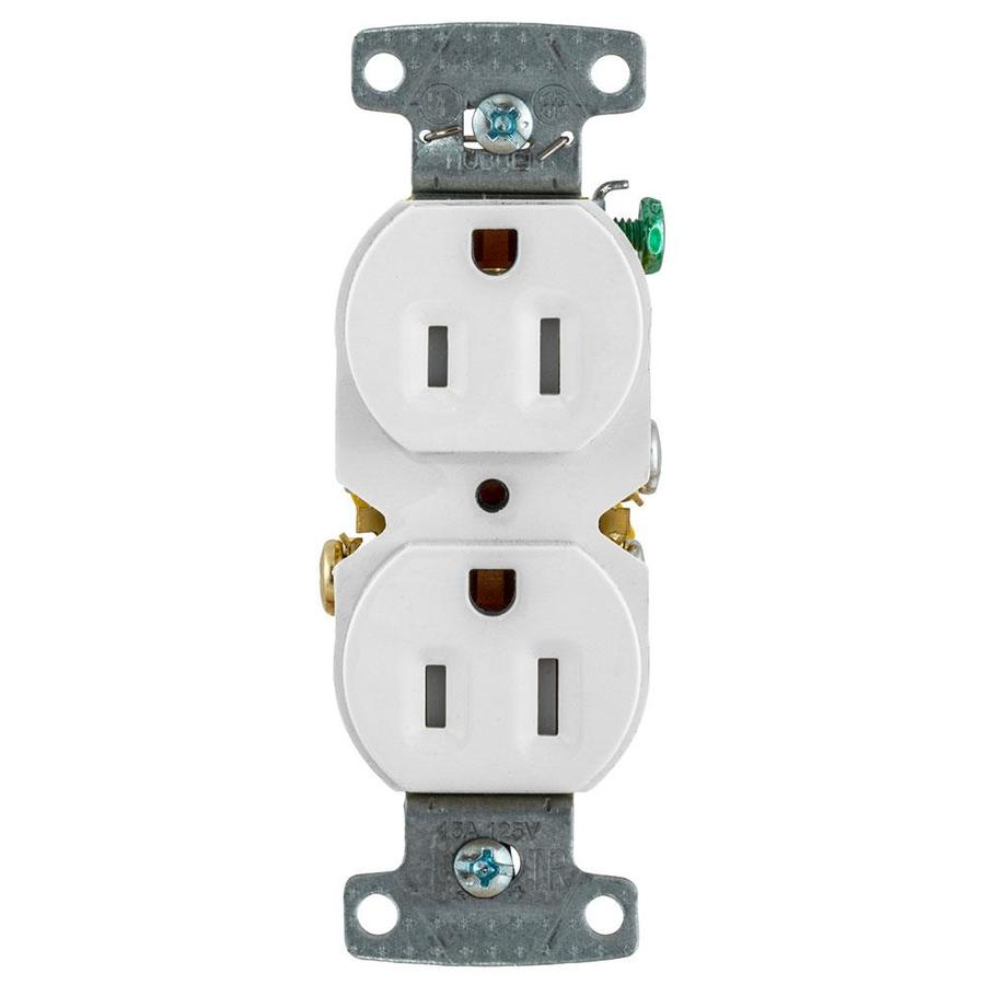 Hubbell X-Clamp 10-Pack 15-Amp 125-Volt White Indoor Duplex Wall Tamper Resistant Outlet