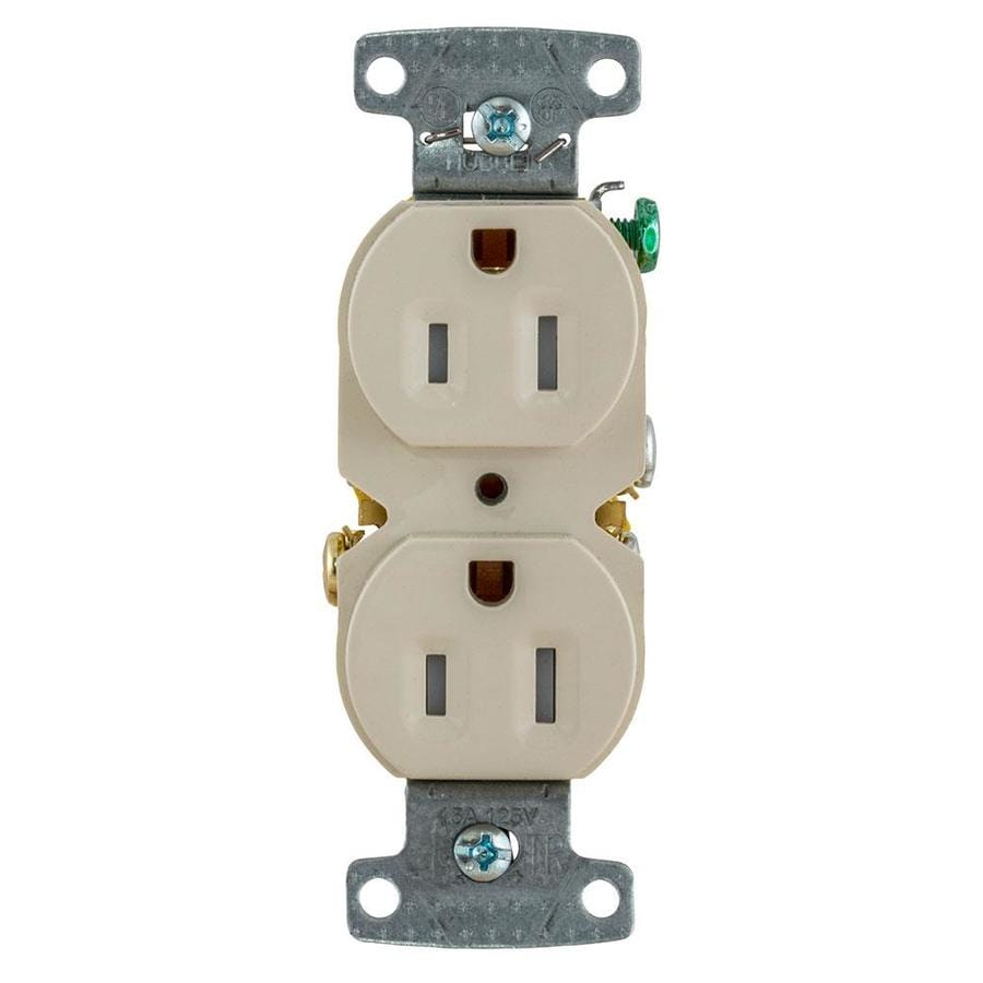 Hubbell X-Clamp 10-Pack 15-Amp 125-Volt Light Almond Indoor Duplex Wall Tamper Resistant Outlet