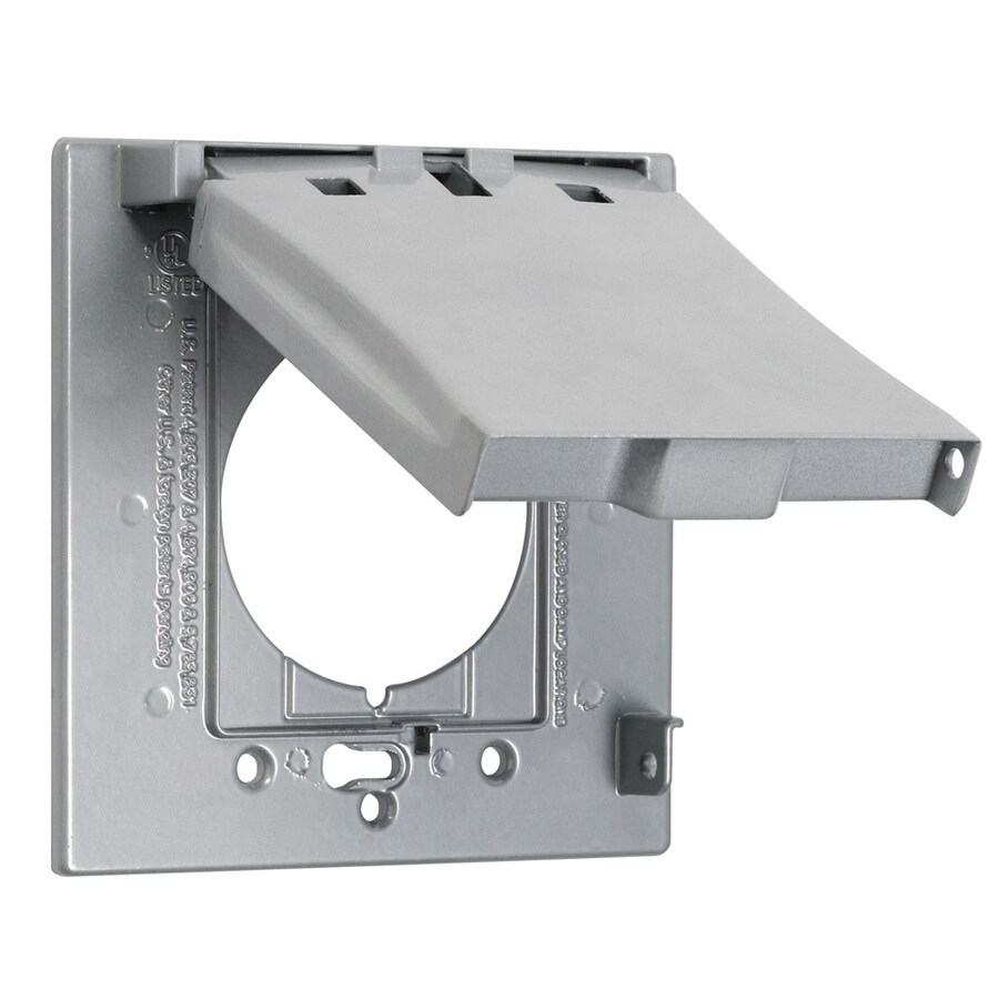 Hubbell TayMac 1-Gang Square Metal Weatherproof Electrical Box Cover