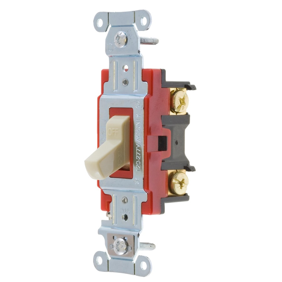 Hubbell 15/20-Amp Single Pole Ivory Toggle Indoor Light Switch