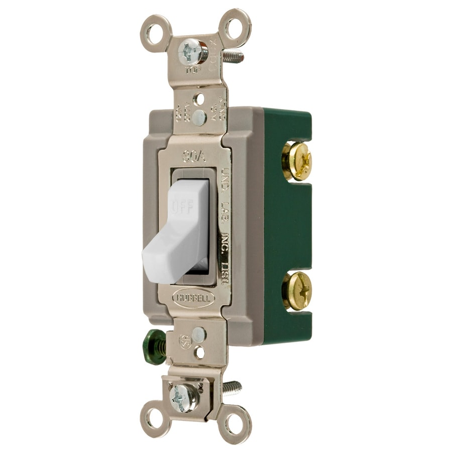 hubbell 30 amp double pole white toggle light switch at lowes com