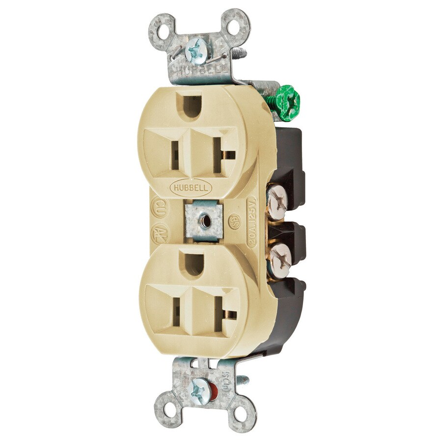 Hubbell 20-Amp 125-Volt Ivory Indoor Duplex Wall Outlet