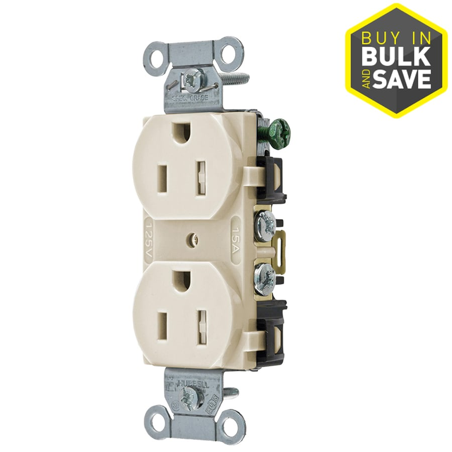 Hubbell 15-Amp 125-Volt Almond Indoor Duplex Wall Tamper Resistant Outlet