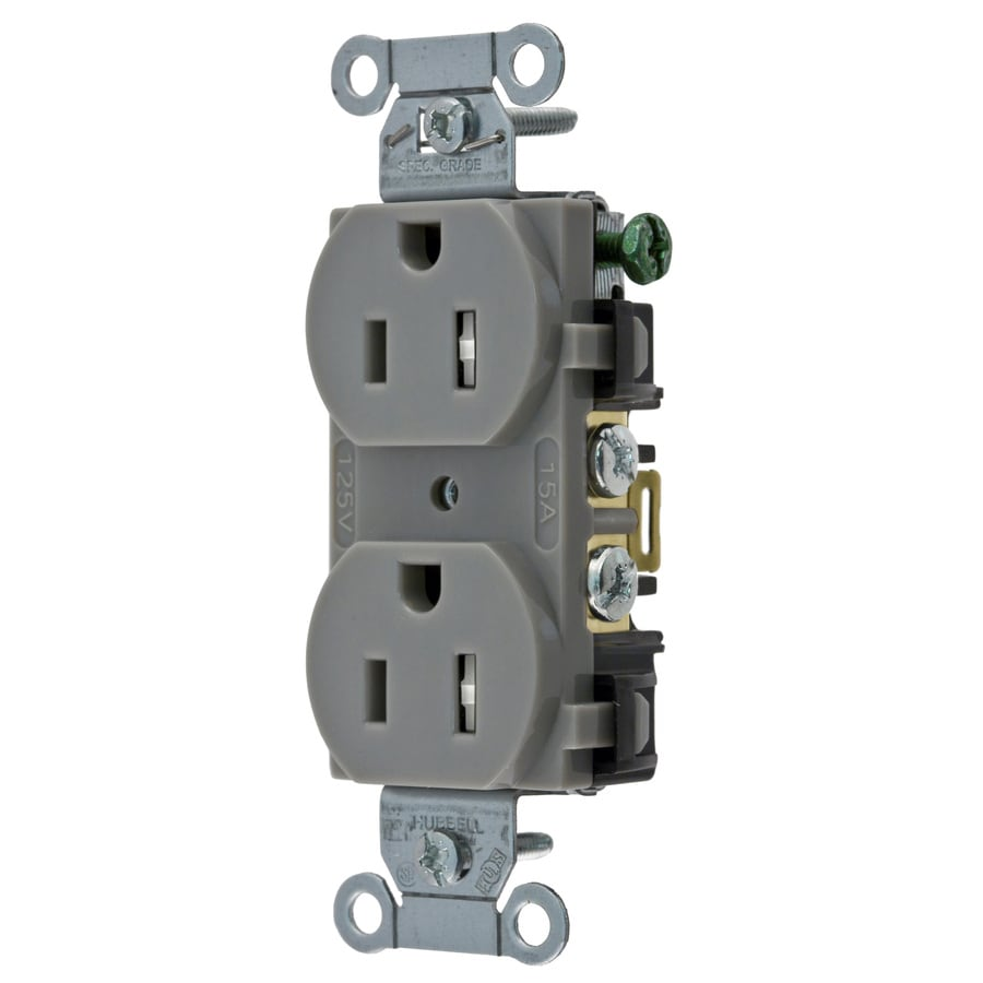 Hubbell 15-Amp 125-Volt Gray Indoor Duplex Wall Tamper Resistant Outlet
