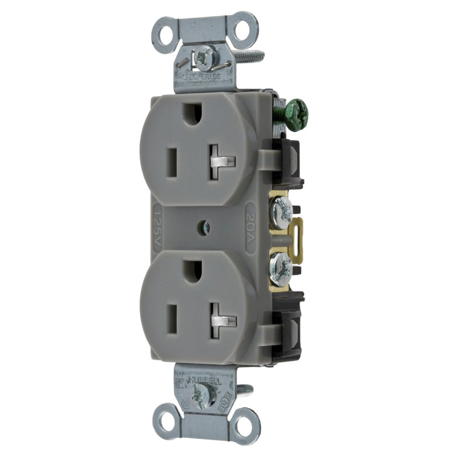 Hubbell 20-Amp 125-Volt Gray Indoor Duplex Wall Tamper Resistant Outlet