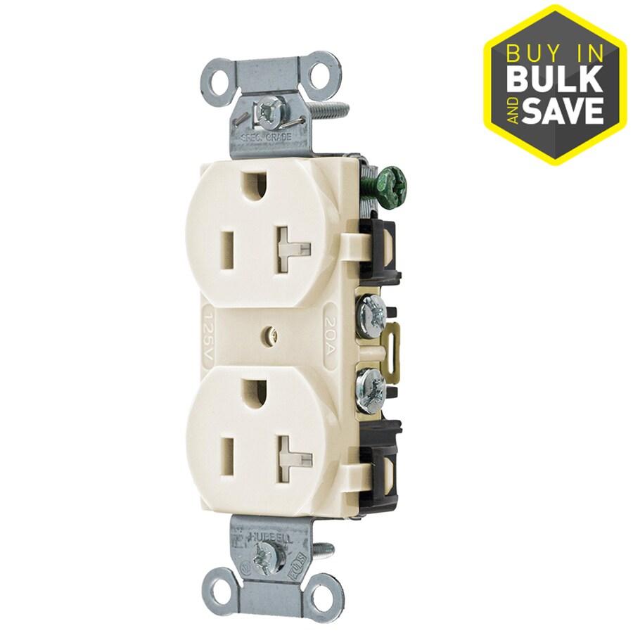 Hubbell 20-Amp 125-Volt Light Almond Indoor Duplex Wall Tamper Resistant Outlet