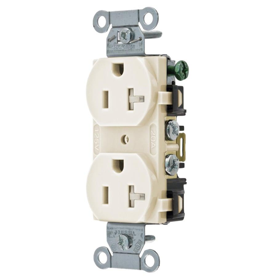 hubbell 20 amp 125 volt light almond indoor duplex wall tamper resistant outlet cr20latrz price. Black Bedroom Furniture Sets. Home Design Ideas