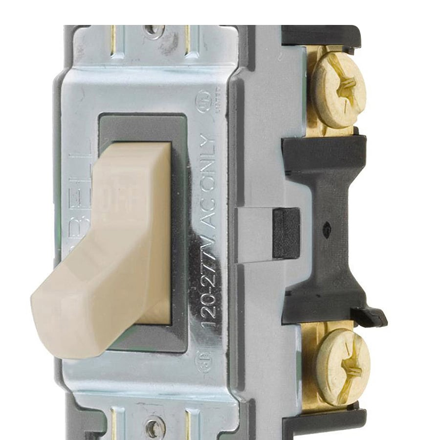 Hubbell 15/20-amp Single-pole Ivory Toggle Light Switch
