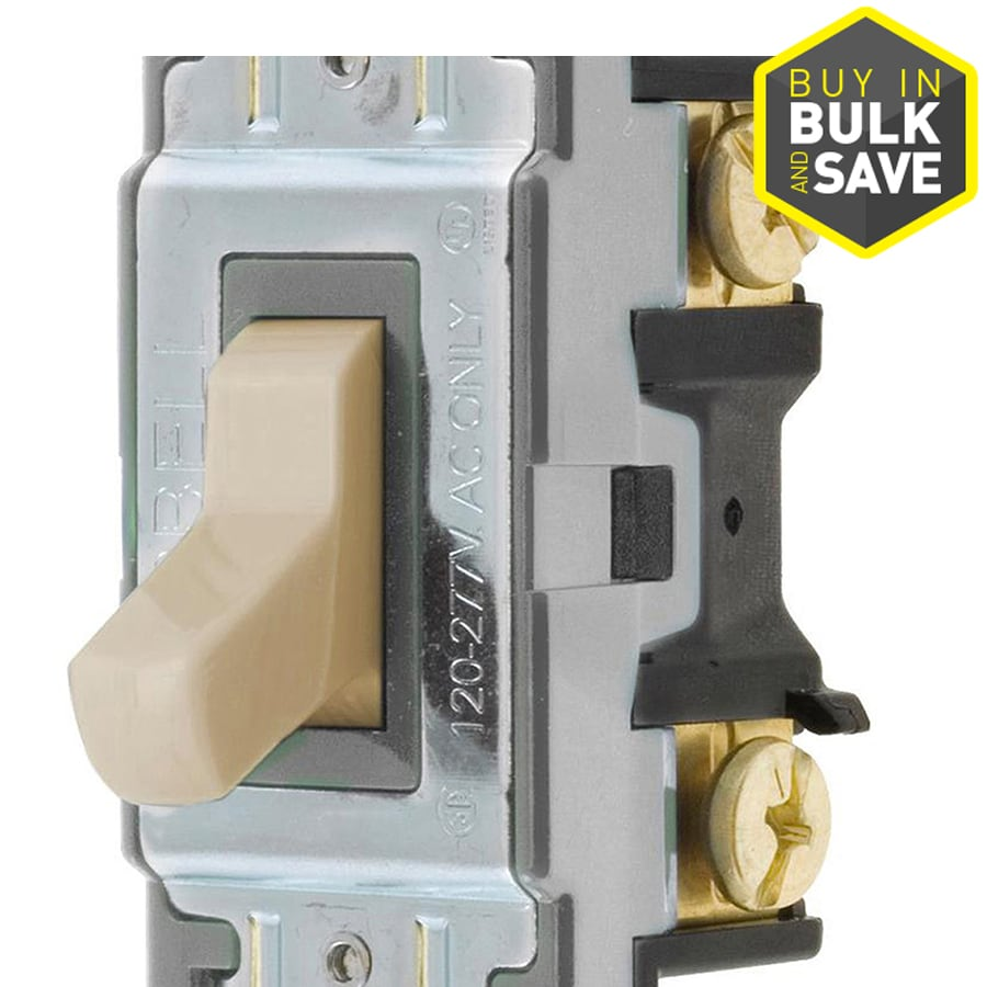 Hubbell 15/20-Amp 3-Way Almond Indoor Toggle Light Switch