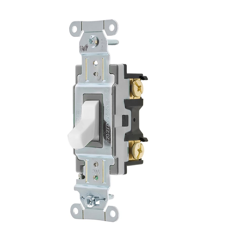 Hubbell 15/20-amp 3-way White Toggle Light Switch