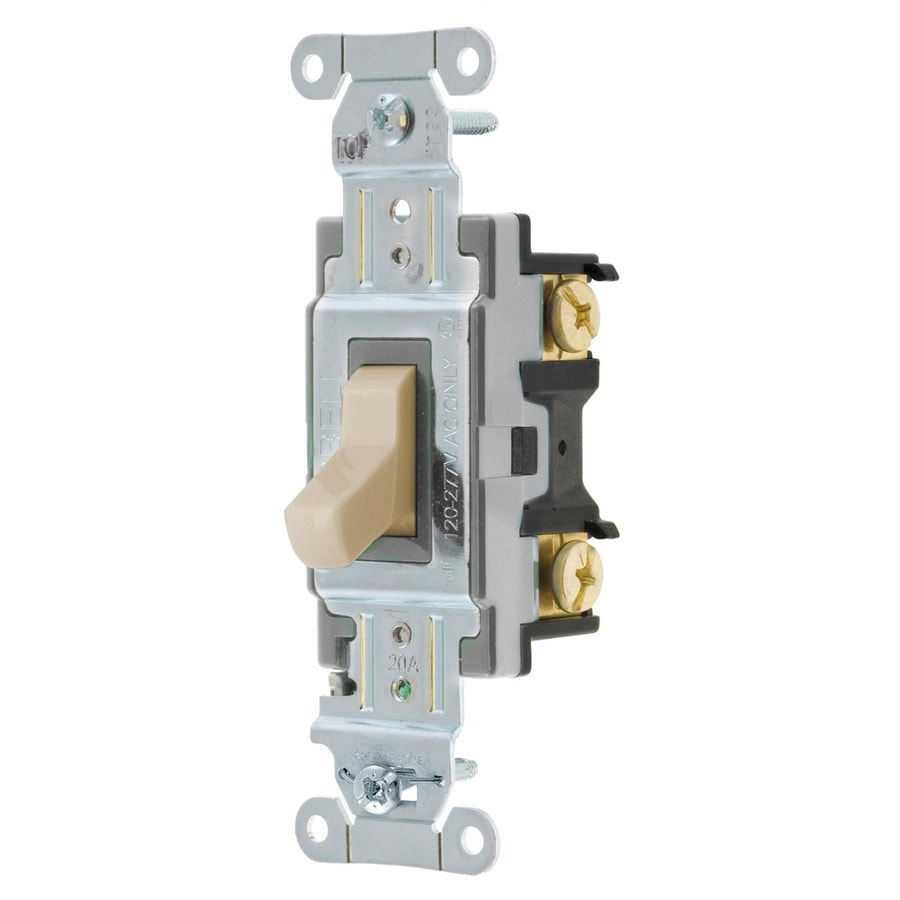 Hubbell 15/20-Amp 4-Way Almond Indoor Toggle Light Switch