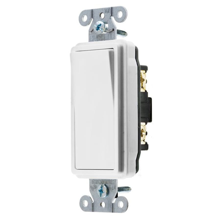 Hubbell 15/20-Amp Single Pole White Indoor Rocker Light Switch
