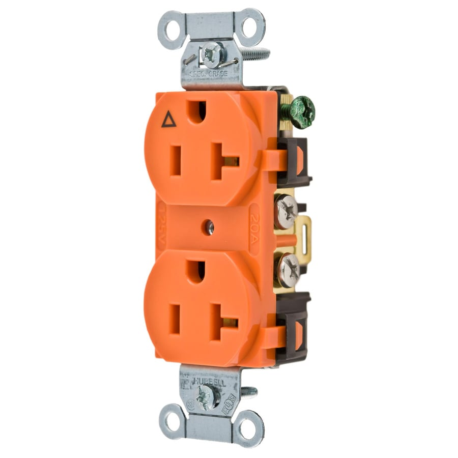 Hubbell 20-Amp 125-Volt Orange Indoor Duplex Wall Outlet