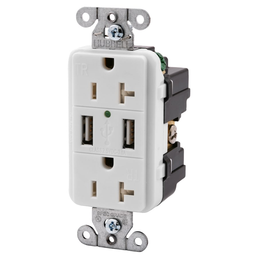 Hubbell White 20-Amp Decorator Outlet/Usb Residential/Commercial