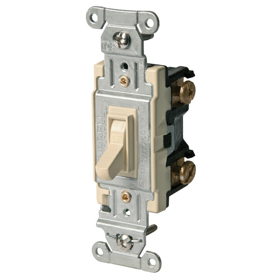 Hubbell 15/20-Amp Single Pole Ivory Indoor Toggle Light Switch