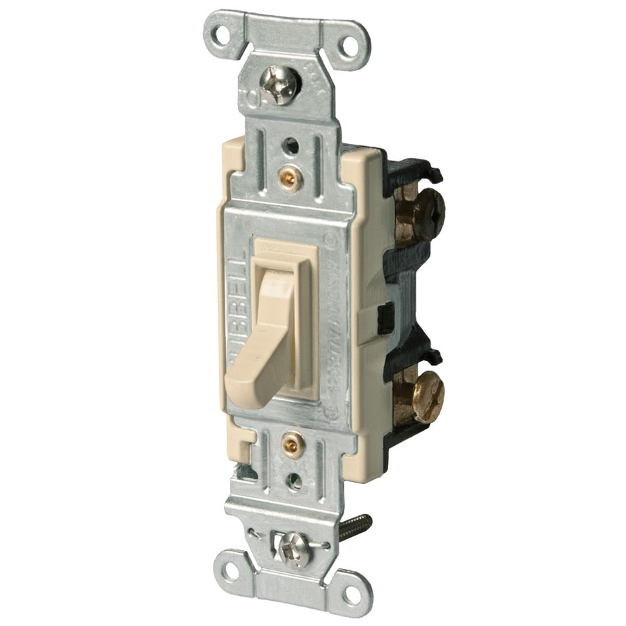Hubbell 15/20-Amp 3-Way Ivory Toggle Indoor Light Switch
