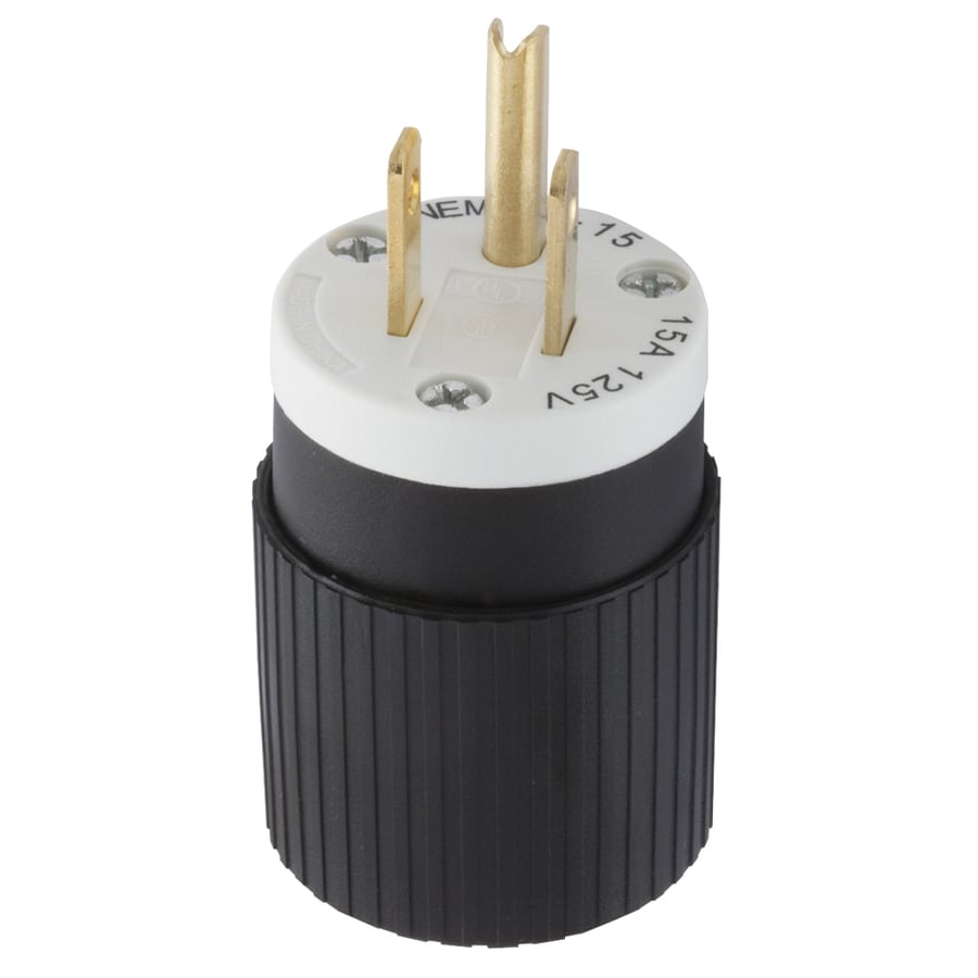 Shop Hubbell 15-Amp 125-Volt Black 3-Wire Grounding Plug at Lowes.com
