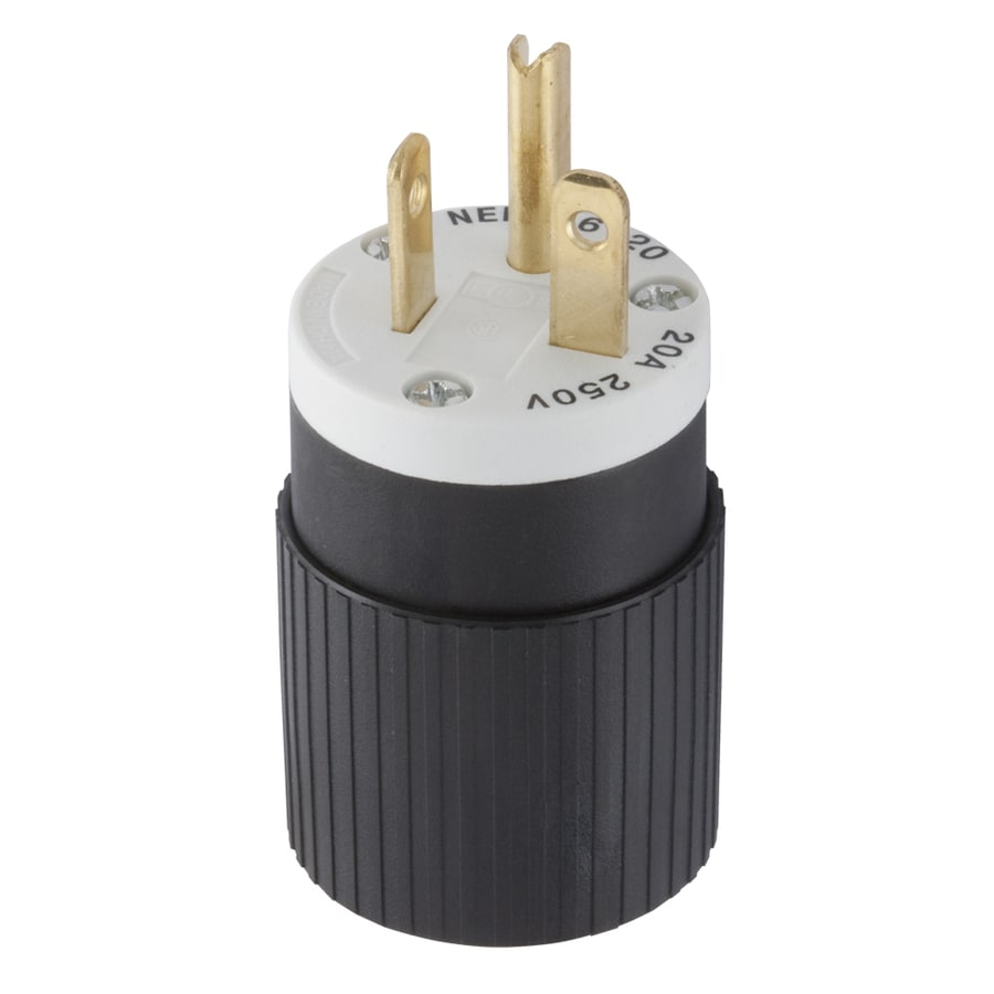 Hubbell 20-Amp 250-Volt Black/White 3-Wire Grounding Plug