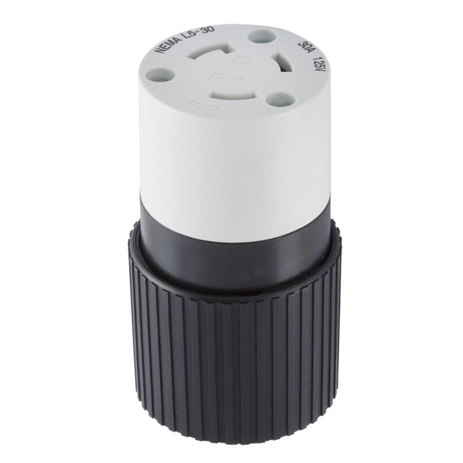 Hubbell 30 Amp 125-Volt Black/White 3-Wire Grounding Connector