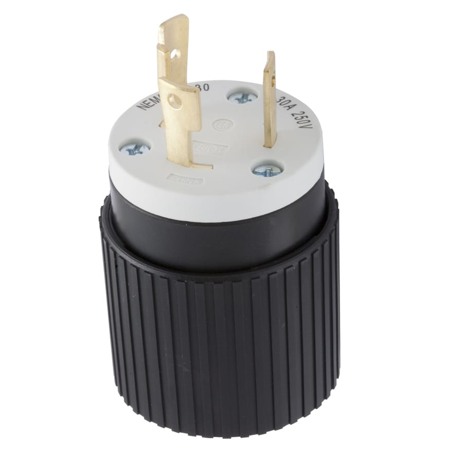 shop electrical plugs connectors at lowes com hubbell 30 amp 250 volt black white 3 wire grounding plug