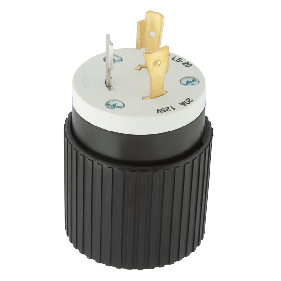 Hubbell 20 Amp 125-Volt Black/White 3-Wire Plug