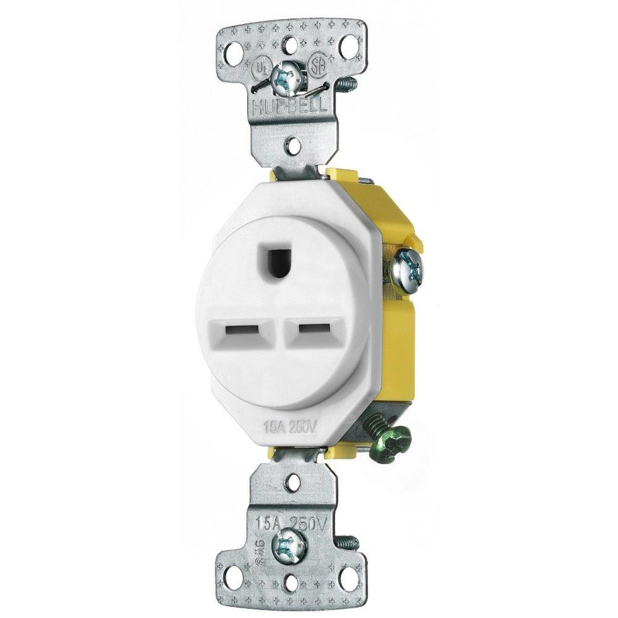 Shop Hubbell 15-Amp 250-Volt White Indoor Round Wall Outlet at Lowes.com
