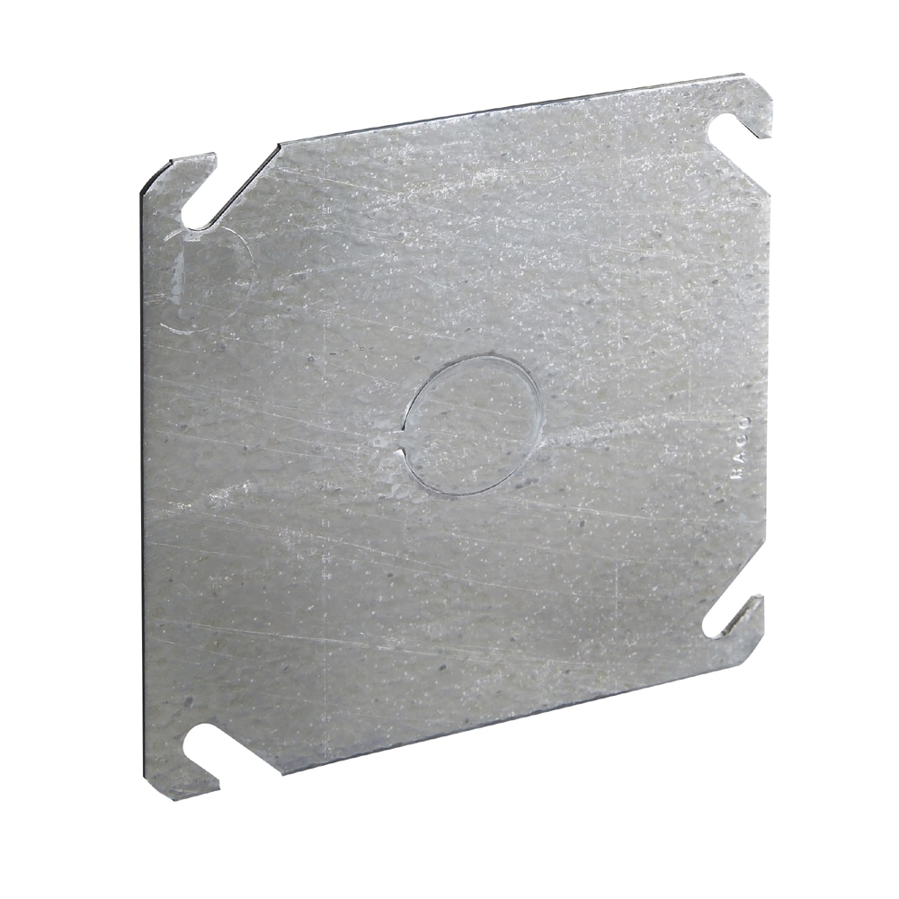 "Raco Flat Cover For 4"" Square Box, 1/2"" Knockout"