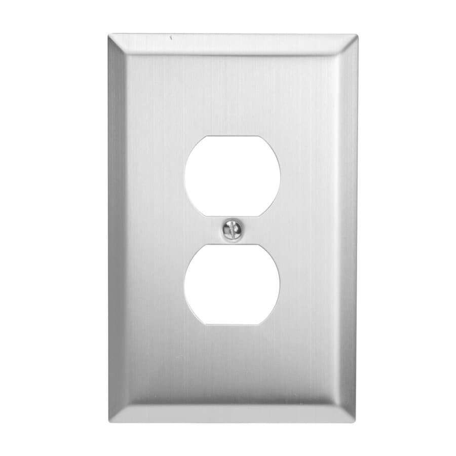 Hubbell TayMac 1-Gang Brushed Nickel Single Duplex Wall Plate