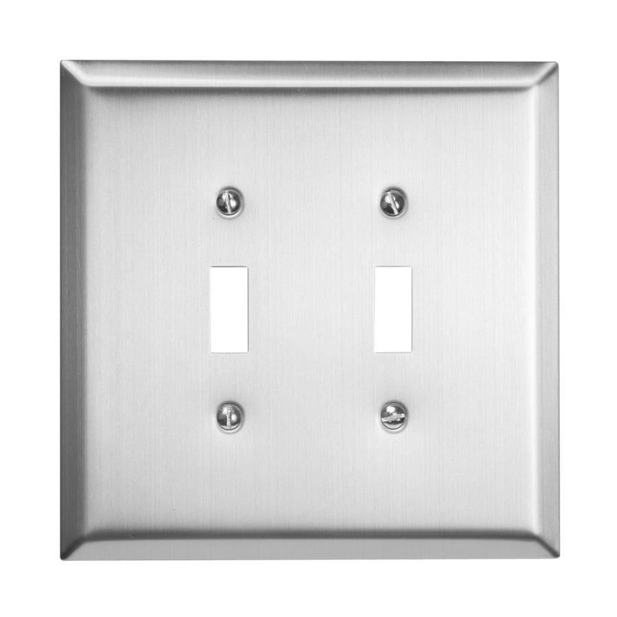 shop hubbell taymac 2 gang brushed nickel double toggle wall plate at. Black Bedroom Furniture Sets. Home Design Ideas