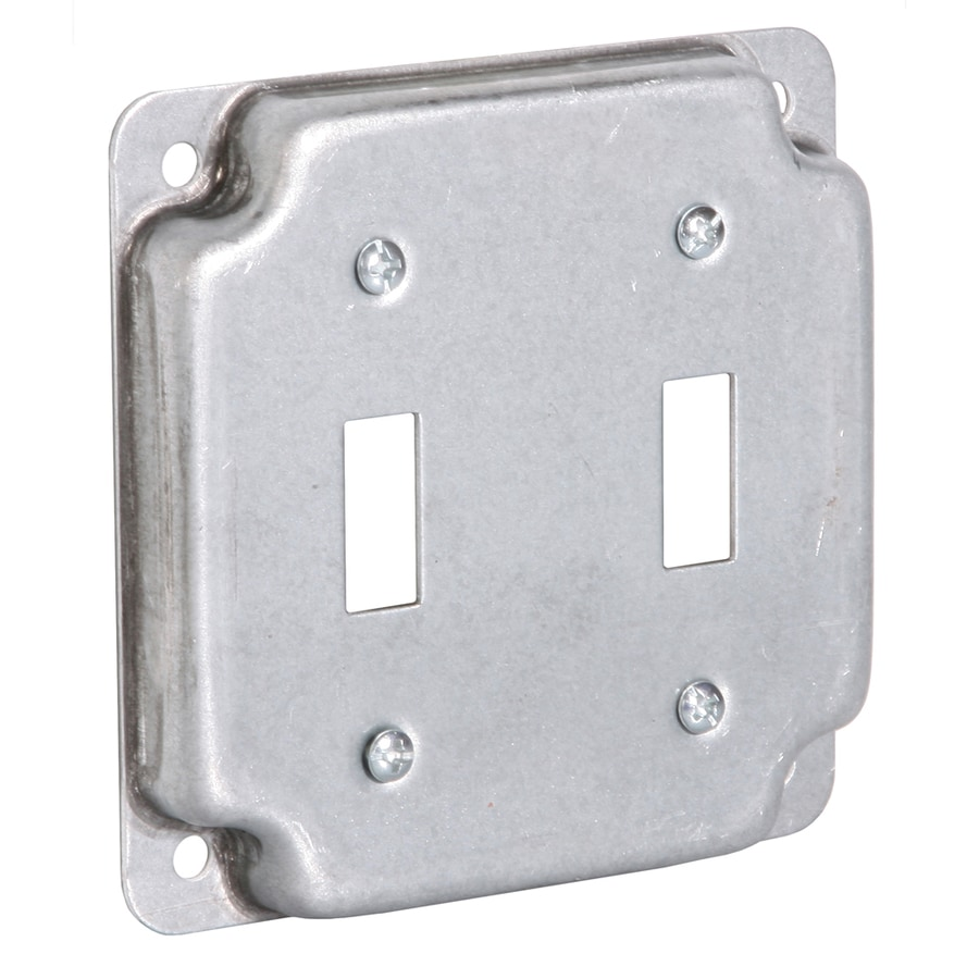 Raco 2-Gang Square Metal Electrical Box Cover