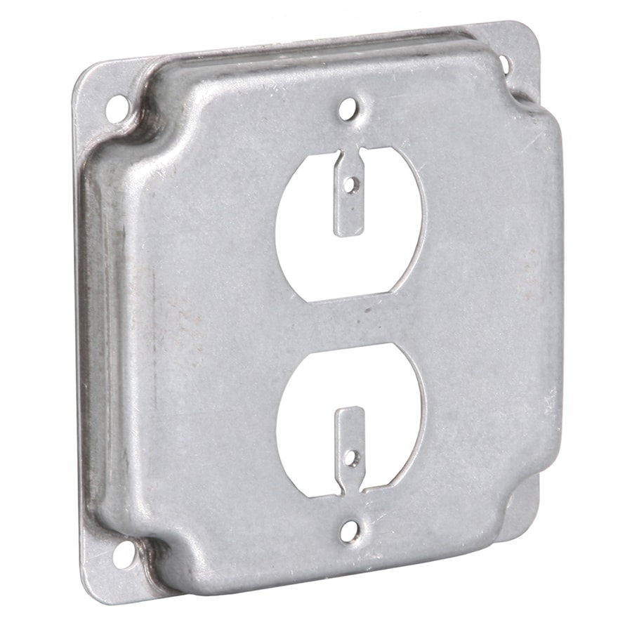 Metal Electrical Outlet Covers Oversized Outlet Covers: Shop RACO 1-Gang Square Metal Electrical Box Cover At