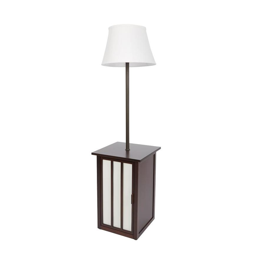 58-in 3-Way Switch Merlot and Glitter Brown Casual/Transitional Shaded Floor Lamp Indoor Floor Lamp with Fabric Shade