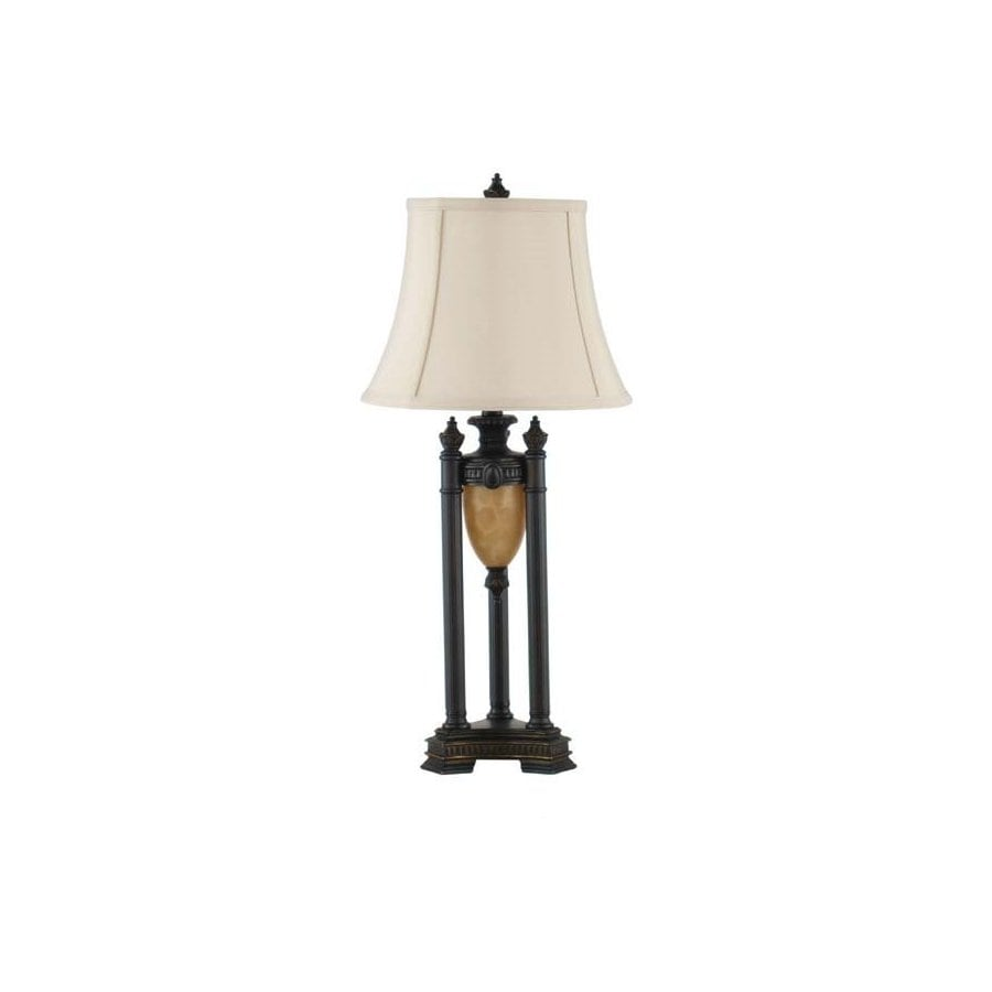 28.5-in 3-Way Restoration Bronze Indoor Table Lamp with Fabric Shade