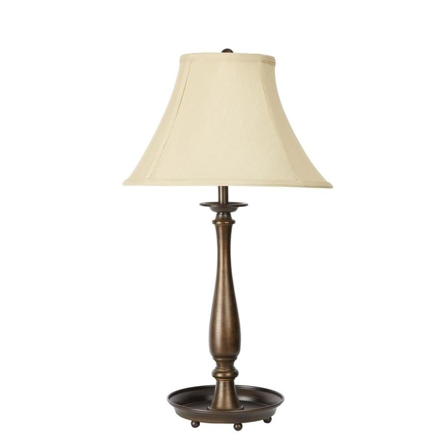 26-in Painted antique brass Table Lamp with Fabric Shade