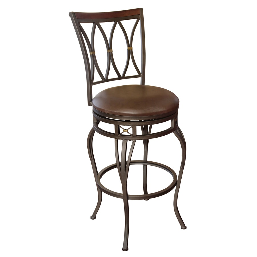 allen + roth Hannah Dark Champagne Bronze 30-in Bar Stool
