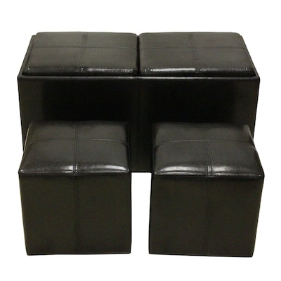 Fabulous 3 Piece Black Storage Ottoman Set At Lowes Com Gmtry Best Dining Table And Chair Ideas Images Gmtryco