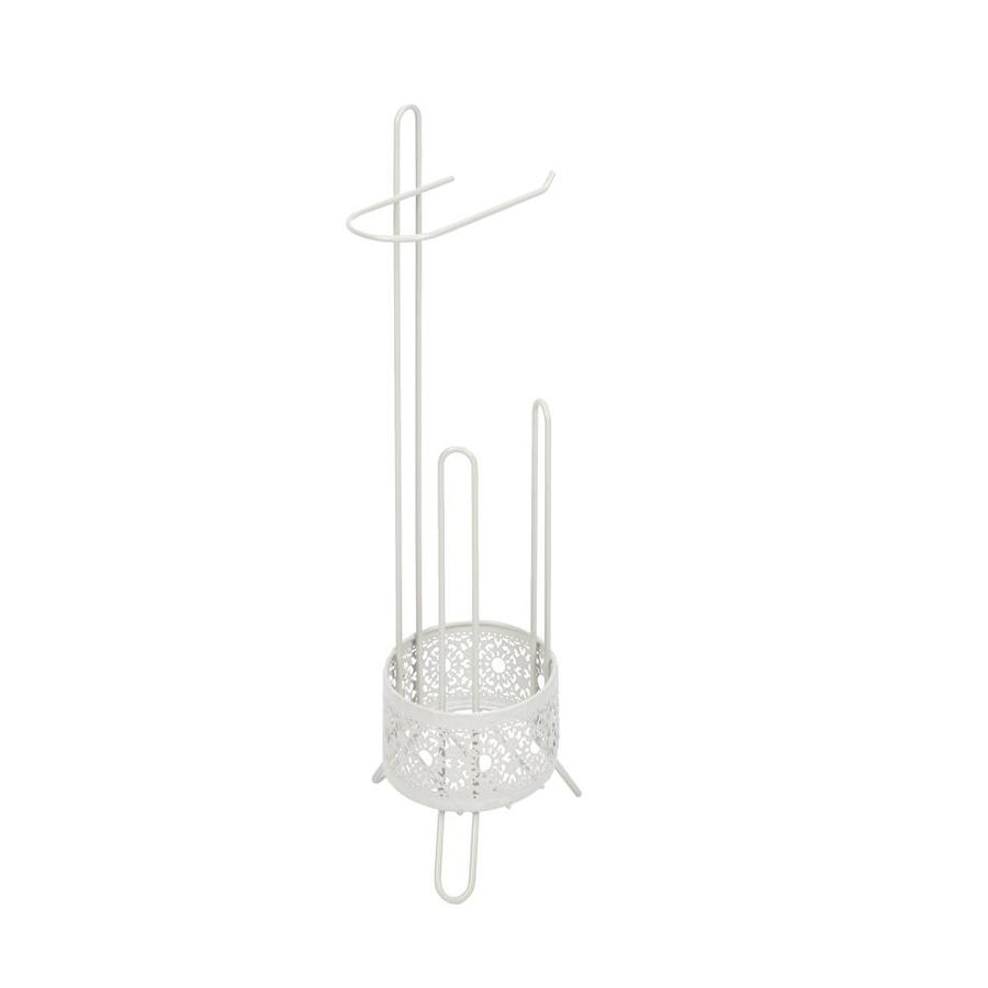 Filigree Bathroom Collection White Freestanding Floor Single Post With Arm Toilet Paper Holder