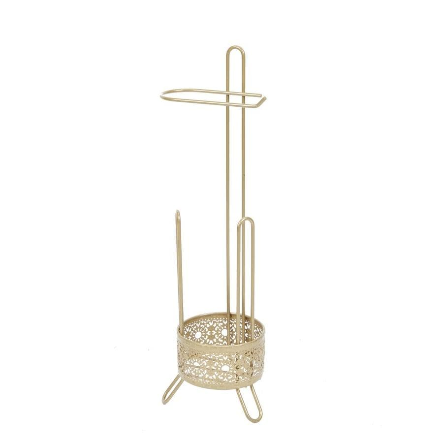Shop filigree bathroom collection gold single post with arm toilet paper holder at - Gold toilet paper holder stand ...