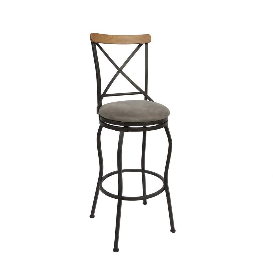 Oil Rubbed Bronze Adjustable Height Upholstered Swivel Bar Stool In The Bar Stools Department At Lowes Com