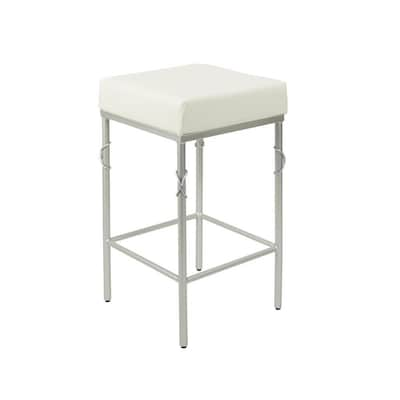 Superb Gwyneth White Seat With Silver Metal Counter Stool Alphanode Cool Chair Designs And Ideas Alphanodeonline