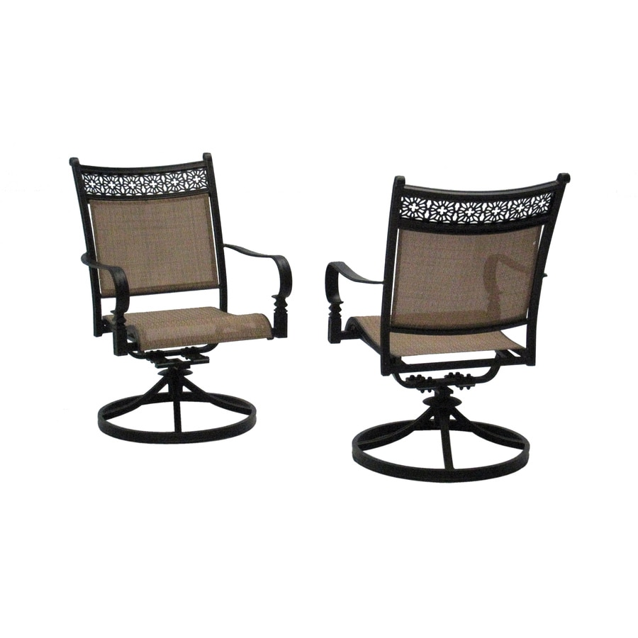 Shop garden treasures potters glen patio dining chair at for Outdoor swivel chairs