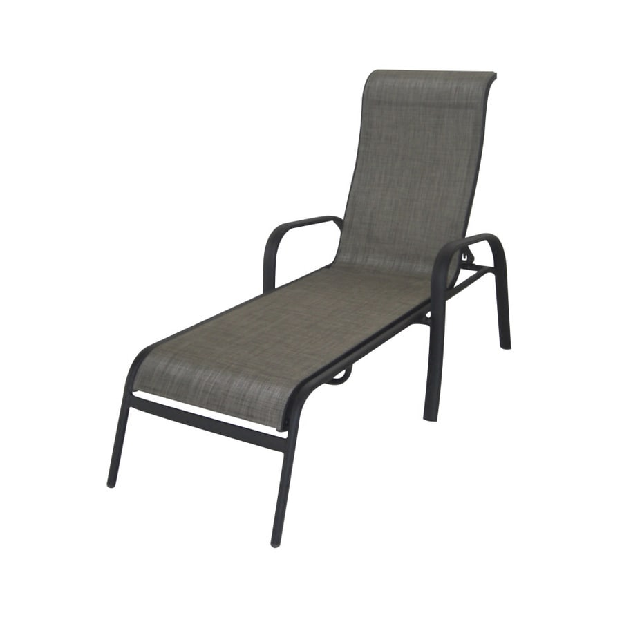 Shop garden treasures burkston sling chaise lounge patio for Patio furniture chaise lounge