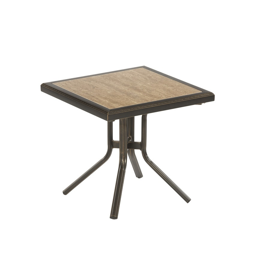 allen + roth Tenbrook 20.39-in x 20.39-in Aged Bronze Aluminum Square Patio Side Table