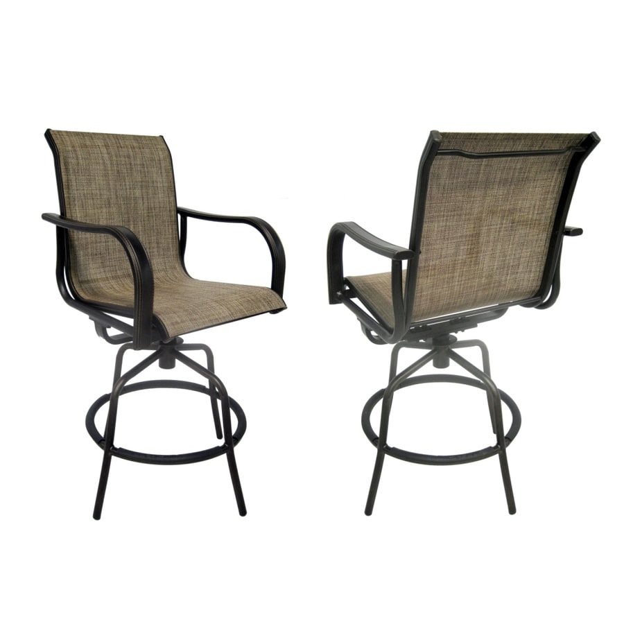 allen + roth Set of 2 Tenbrook Aluminum Swivel Patio Bar-Height Chairs
